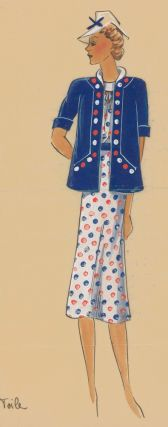 Polka Dot Dress in white, with red and blue accents. Original Fashion Illustration. Ginette de...