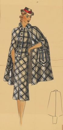 Sherlock Holmes-inspired outfit, featuring a black-and-white cape. Original Fashion Illustration....