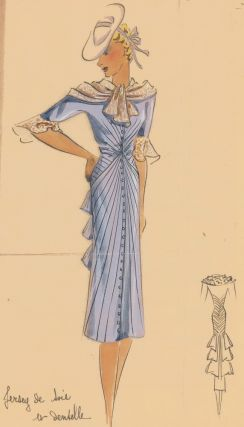 Periwinkle Silk Jersey Dress with rouching, and Pert-style brimmed hat. Original Fashion...