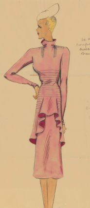 High-neck, pink dress with asymmetrical ruffle. Original Fashion Illustration. Ginette de Paris,...