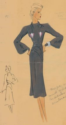 Black, draped dress with embroidered details, and tan, garrison cap. Original Fashion...