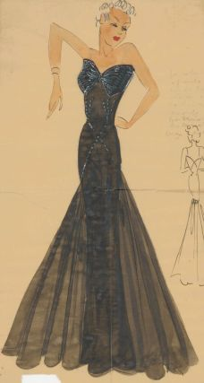 Black Fit-and-Flare Evening Gown with beaded details. Original Fashion Illustration. Ginette de...