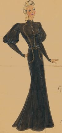 Black evening gown, with military-style bodice and gigot sleeves. Original Fashion Illustration....