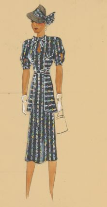 Multi-colored chain-patterned dress, with belted jacket. Original Fashion Illustration. Ginette...