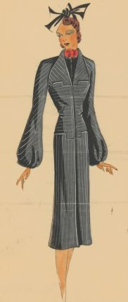 Grey pinstripe overcoat with puffed sleeves. Original Fashion Illustration. Ginette de Paris,...