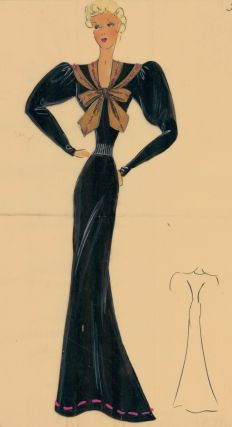 Black, long-sleeved gown with a nautical-style bow. Original Fashion Illustration. Ginette de...