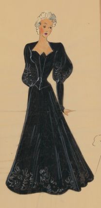 Floor-length black gown, with a sweetheart neckline variation and gigot sleeves. Original Fashion...