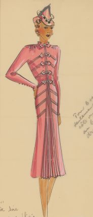 Pink, military-style dress with pleated details and bows. Original Fashion Illustration. Ginette...