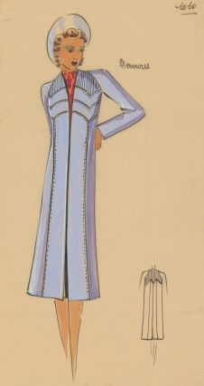 Lilac overcoat with stitched-panel details. Original Fashion Illustration. Ginette de Paris,...