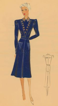 Belted, military-style dress in midnight blue, with gold details. Original Fashion Illustration. Ginette de Paris, Ginette Jaccard.