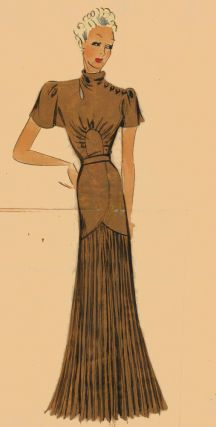 Bronze evening gown with pleated skirt. Original Fashion Illustration. Ginette de Paris, Ginette...