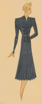 Grey, pleated dress with black beading. Original Fashion Illustration. Ginette de Paris, Ginette Jaccard.