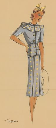 Alice blue outfit with ruffled collar and polka-dots. Original Fashion Illustration. Ginette de Paris, Ginette Jaccard.