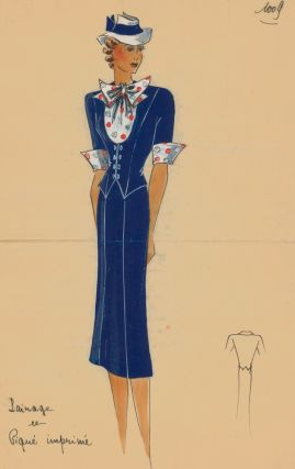 Navy skirt suit with polka-dotted ascot tie. Original Fashion Illustration. Ginette de Paris,...