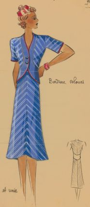 Sporty, cornflower blue outfit with red trim. Original Fashion Illustration. Ginette de Paris, Ginette Jaccard.