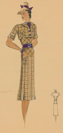 Khaki pleated outfit in plaid, with eggplant purple accents. Original Fashion Illustration. Ginette de Paris, Ginette Jaccard.