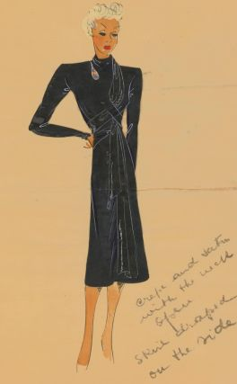 Asphalt grey asymmetric dress. Original Fashion Illustration. Ginette de Paris, Ginette Jaccard.