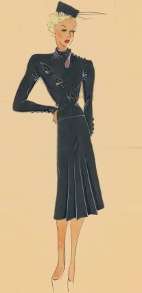 Asphalt grey, pleated dress with cowl neck and button details. Original Fashion Illustration....
