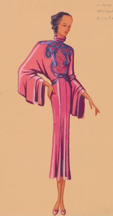 Kimono-inspired magenta dress with intricate embroidery and butterfly sleeves. Original Fashion Illustration. Ginette de Paris, Ginette Jaccard.