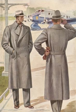 Men in double-breasted overcoats, standing in front of an airplane. Jean Darroux.