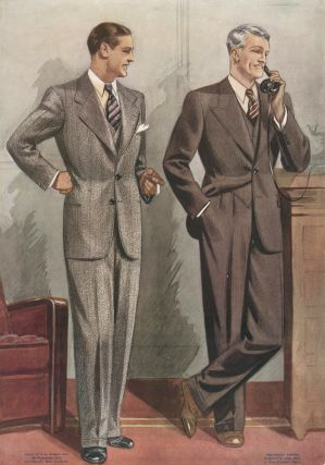 Brown and grey tweed suits. Jean Darroux.