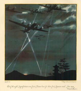 Out of the night, Superfortresses come from Chinese bases for their first Japanese raid, June...