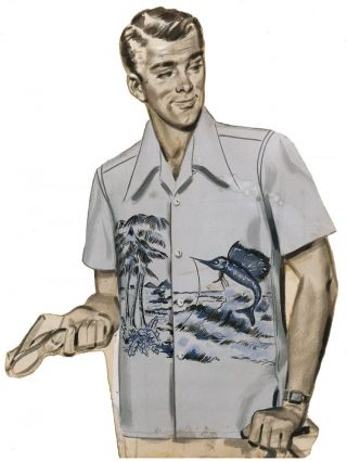 Men's Shirt with Marlin & Palm Trees. AJ Fitzsimons