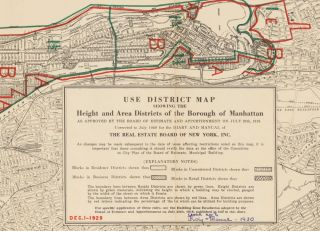 Use District Map, Showing the Height and Area Districts of the Borough of Manhattan. Land Book of the Borough of Manhattan, City of New York.