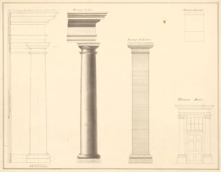 Tuscan-style Architectural Elements: Order, Pilaster, Pedestal, and Door. American School.