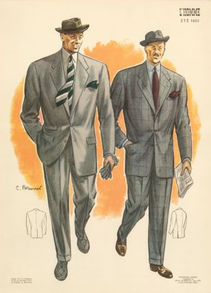 Morning stroll with the newspaper, in grey single-breasted suit jackets for Spring 1952. L'Homme....