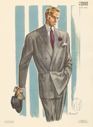 Double-breasted suit in grey pinstripe, accessorized in burgundy, for Spring 1952. L'Homme. C. Brenner.