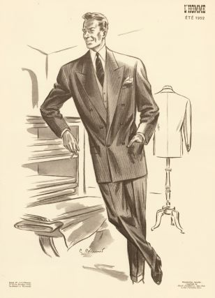 At the tailor, in a pinstripe double-breasted suit for Spring 1952. L'Homme. C. Brenner