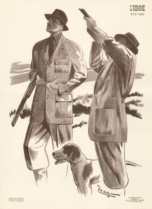 Hunting fashion in tweed, for Spring 1952. L'Homme. Zveg