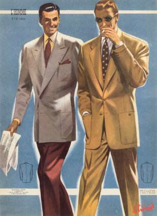 A Miami Afternoon, lightweight linen suits for Spring 1952. L'Homme. Andre.