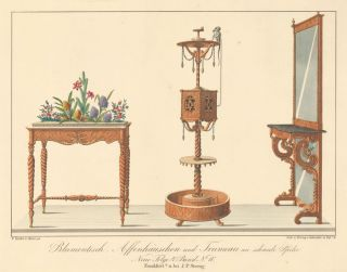 Pl. 10. Flower table, Monkey Stand, and Mirror Table. Journal fur Bau- und Mobelschreiner, Tapezierer. Wilhelm Kimbel.