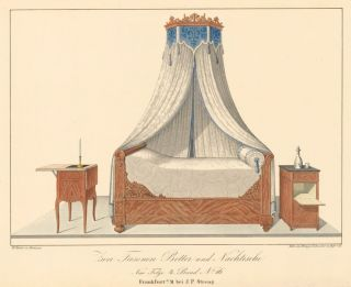 Pl. 16. Blue-and-white Canopy bed. Journal fur Bau- und Mobelschreiner, Tapezierer. Wilhelm Kimbel.