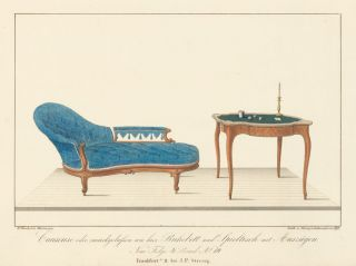 Pl. 19. Loveseat and game table. Journal fur Bau- und Mobelschreiner, Tapezierer. Wilhelm Kimbel.