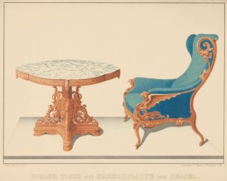 Pl. 7. Marble table with armchair. Journal fur Bau- und Mobelschreiner, Tapezierer. Wilhelm Kimbel.