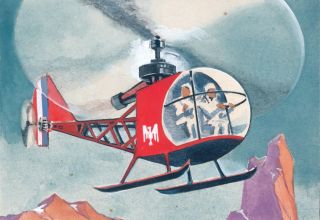 Helicopter. Science Fiction Imagery and Futuristic Landscapes. French School.