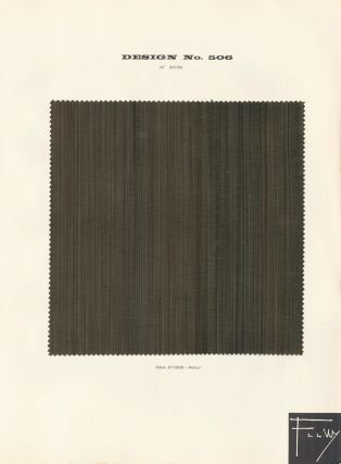 Design No. 506. Schumacher's Taliesin Line of Decorative Fabrics and Wallpapers Designed by Frank...