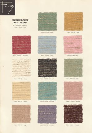 Design No. 505 in 15 colors. Schumacher's Taliesin Line of Decorative Fabrics and Wallpapers Designed by Frank Lloyd Wright.