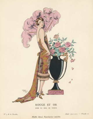 Rouge et or. Red and gold evening gown. Gazette du Bon Ton. George Barbier