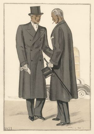 Casual conversation in formal attire. Two men wearing double-breasted overcoats and top hats, in charcoal. Societe Philanthropique des Maitres Tailleurs de Paris. Marc-Luc, Societe Philanthropique des Maitres Tailleurs de P.
