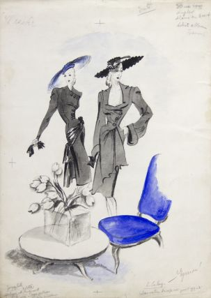 Jacques Fath and Lucien Lelong Fashion Illustration, with a Touch of Blue. Leon Benigni.