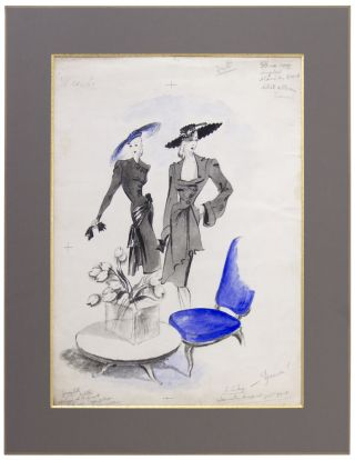 Jacques Fath and Lucien Lelong Fashion Illustration, with a Touch of Blue.