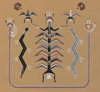 The Final Ascension of Scavenger Attended by Lightnings (Bead Chant). Navajo Medicine Man:...