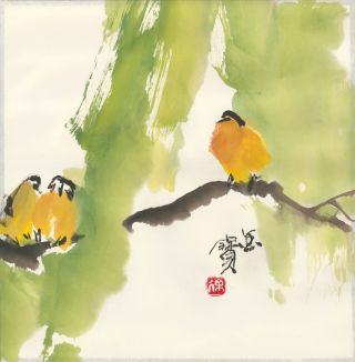 Trio of birds in a tree. Japanese school
