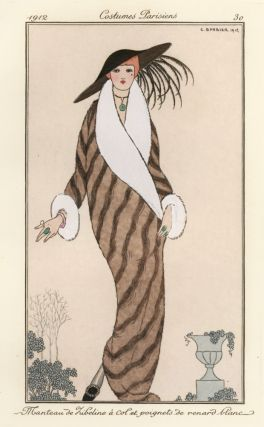 Sable [Marten] Fur Coat with White Fur Sleeves. Costumes Parisiens. George Barbier