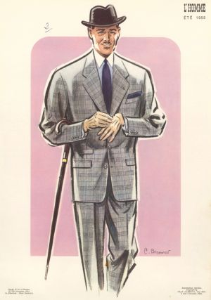 Tweed Suit and Cane. L'Homme. C. Brenner, Jean Darroux