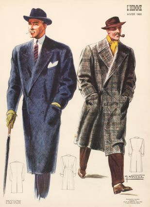 Overcoats, brimmed hats, and bright pops of color. L'Homme. M. Norsac, Jean Darroux